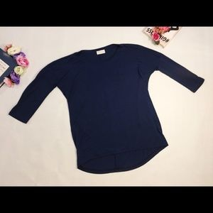 Zara dark blue t-shirt top 3/4 sleeve M crew neck